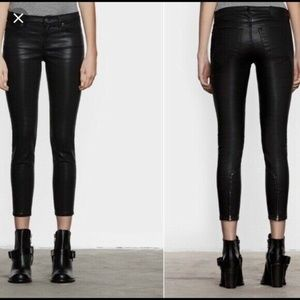 All Saints Jeans Brodie Coated Skinny Ankle Zipper